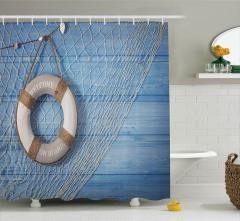 Ağdaki Can Simidi Temalı Duş Perdesi Mavi Zeminli