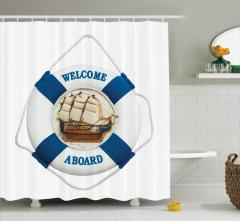 Gemi ve Can Simidi Temalı Duş Perdesi Beyaz