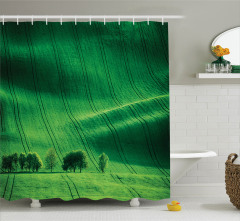 Huzur Veren Doğa Temalı Duş Perdesi Yeşil Ağaçlar