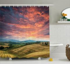 İtalya'da Yaz Temalı Duş Perdesi Romantik Gökyüzü