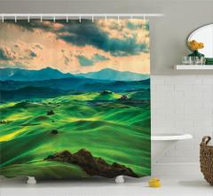 Tepede Gün Batımı Manzaralı Duş Perdesi Doğa Yeşil