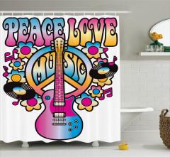 Aşk Barış ve Müzik Temalı Duş Perdesi Rengarenk