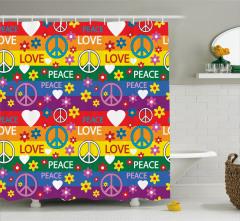 Hippi Temalı Rengarenk Duş Perdesi Aşk Barış Çiçek