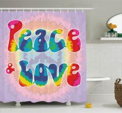 Aşk ve Barış Temalı Duş Perdesi Rengarenk Gökkuşağı