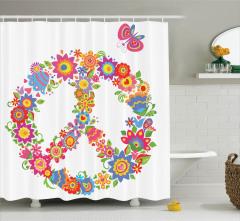 Barış Çiçekleri Desenli Duş Perdesi Rengarenk Hippi