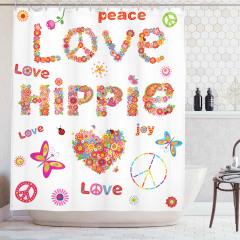 Aşk Temalı Duş Perdesi Rengarenk Çiçekler Kelebek