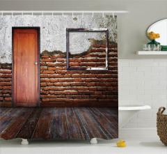Terk Edilmiş Oda Temalı Duş Perdesi Ahşap Görünümlü