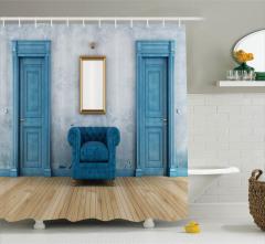 Duş Perdesi Şık Tasarım Mavi Ahşap Etkili