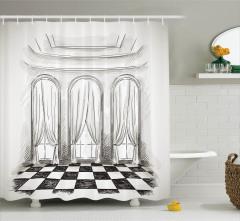 Antik Oda Temalı Duş Perdesi Siyah Beyaz Şık Tasarım