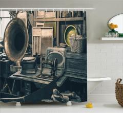 Antikacı Temalı Duş Perdesi Gramofon Dikiş Makinesi