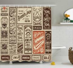 Bej Duş Perdesi Nostaljik Tabelalar Şık Tasarım
