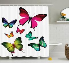 Gökkuşağı Temalı Kelebekler Duş Perdesi Beyaz Zemin