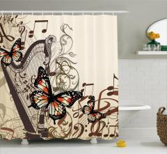 Arp ve Kelebek Desenli Duş Perdesi Müzik Temalı