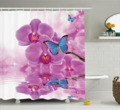 Kelebek ve Çiçek Desenli Duş Perdesi Mor Mavi Trend