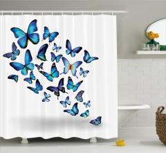 Mavi Kelebek Desenli Duş Perdesi Bahar Temalı Şık