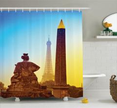 Paris Manzaralı Duş Perdesi Duş Perdesi Romantik Şık