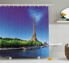 Gün Doğumu Temalı Duş Perdesi Eyfel Kulesi Paris