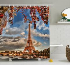 Paris Temalı Duş Perdesi Romantik Şık Sonbahar Trend