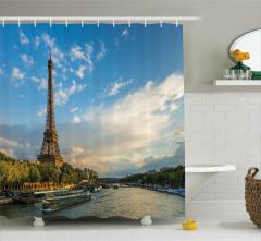 Paris'te Gün Batımı Manzaralı Duş Perdesi Trend