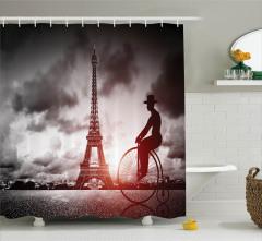 Bisikletli Adam Temalı Duş Perdesi Paris Retro Şık