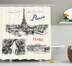 Paris Temalı Duş Perdesi Elle Çizim Şık Tasarım