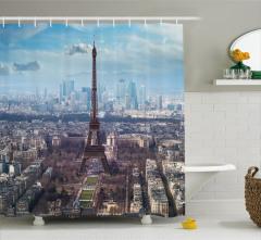 Paris ve Gökyüzü Temalı Duş Perdesi Şık Tasarım