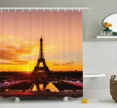 Paris'te Gün Doğumu Temalı Duş Perdesi Romantik Şık