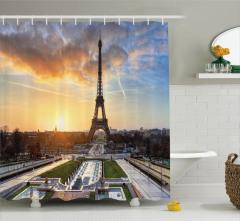 Gün Doğumu Manzaralı Duş Perdesi Paris Temalı Şık