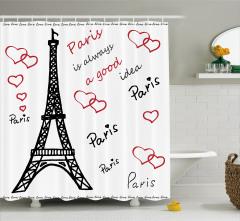 Aşk Temalı Duş Perdesi Paris Çeyizlik Şık Tasarım