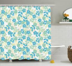 Mavi ve Sarı Çiçek Desenli Duş Perdesi Nostaljik Şık