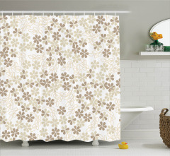 Çiçek Desenli Duş Perdesi Beyaz Kahverengi Trend