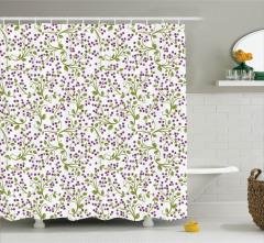Meyve Desenli Duş Perdesi Doğa Temalı Yeşil Mor Şık