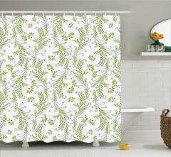 Yaprak Desenli Duş Perdesi Yeşil Trend Çeyizlik