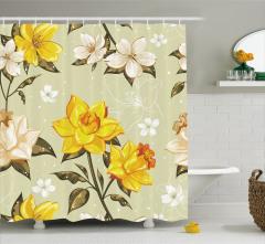 Bahar Çiçekleri Desenli Duş Perdesi Çeyizlik Trend