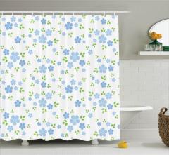 Mavi Çiçek Desenli Duş Perdesi Çeyizlik Şık Tasarım