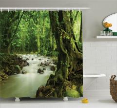 Doğada Huzur Temalı Duş Perdesi Nehir Ağaç Yeşil