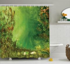 Çiçekli Bahçe Temalı Duş Perdesi Romantik Yeşil