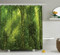 Yeşil Orman Manzaralı Duş Perdesi Ağaç Doğa Trend