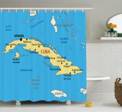 Küba Temalı Duş Perdesi Harita Desenli Mavi Deniz