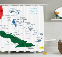 Bahamalar Temalı Duş Perdesi Harita Desenli Küba