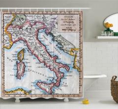 Tarihi Harita Desenli Duş Perdesi İtalya Temalı