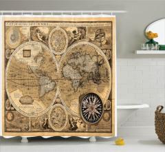 Dünya Haritası Temalı Duş Perdesi Antika Nostaljik
