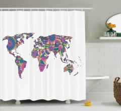 Rengarenk Harita Desenli Duş Perdesi Mor Pembe Çiçek