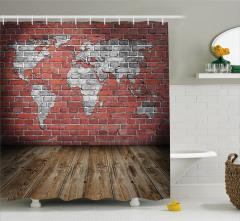 Dünya Haritası Temalı Duş Perdesi Tuğla Duvar Antika