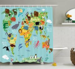 Hayvan Haritası Desenli Duş Perdesi Çocuklar İçin