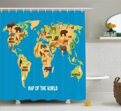 Hayvan Haritası Temalı Duş Perdesi Çocuklar İçin