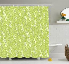 Bahar Temalı Duş Perdesi Yaprak Desenli Yeşil Şık