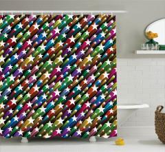 Yıldız Desenli Duş Perdesi Rengarenk Şık Tasarım