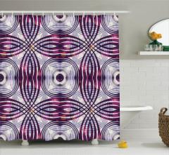 Geometrik Desenli Duş Perdesi Şık Tasarım Bordo