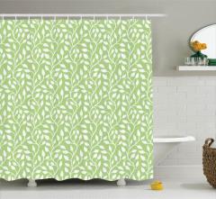 Yeşil Yaprak Desenli Duş Perdesi Çeyizlik Trend